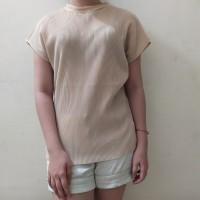 (H14) Baju Atasan Blouse Wanita Import High Neck Bahan Pleated