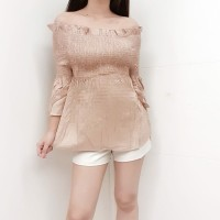 ( M1062) Atasan Blouse Off Shoulder Top Wanita Import Bahan Rayon