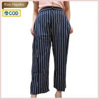 (K2098) Celana Panjang Wanita Kulot Motif Garis / Salur Import