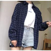 sabrina kemeja biru jeans atasan fashion wanita - maroon