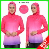 Baju OlahRaga Wanita Lengan Panjang Kaos Senam Training Muslimah Hijab - Magenta, S