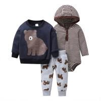 Sweater Jaket Set Motif Brown Bear - 9-12 Bulan