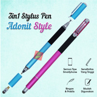 3in1 Stylus Pen / adonit style / bolpen / gambar - Hitam