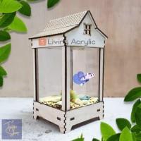Akuarium Mini Ikan Cupang Guppy Akrilik Aquarium Unik 10x10x15cm