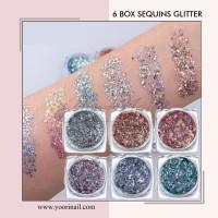 6 box sequins glitter nail art gliter bubuk flake nails deco