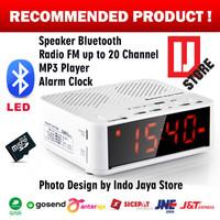 Speaker Mini Bluetooth + Radio FM + Jam Meja + Jam Weker Digital