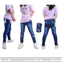 Celana Ripped Sobek Anak Tanggung Jeans Kids Girl Cewek Fashion Denim - Midnight Blue, 24