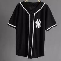 JERSEY BASEBALL / Baju Baseball NY LIST BLACK