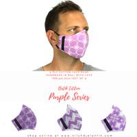 NILUH DJELANTIK Masker Kain 3 Ply Katun Batik Cap PURPLE SERIES