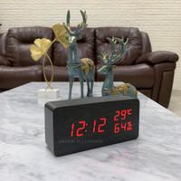 Jam Meja Digital Led Weker / Digital Wood Alarm Clock 010 cream red