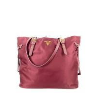Prada 1BG997 Tessuto Saffiano Granato Nylon Shopping Tote Bag