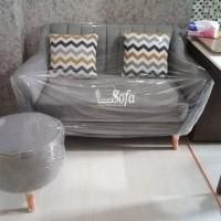 Sofa 2 Seater Havana + Stool Bulat - Biru