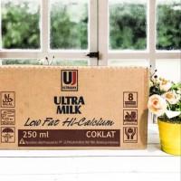 Susu Ultra Milk Low Fat Rasa Coklat 250ml 1 Dus isi 24 pcs