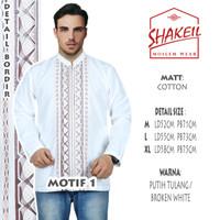 Koko / Kemeja Koko / Baju Muslim Pria Putih Panjang ER02 - MotifSatu, XL