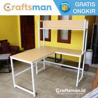 Meja kerja / Belajar minimalis L Shaped + Rak buku | MK11 Craftsman