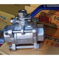 "kran air ball valve stainless steel 3pc sankyo 3/8"" (inch) kon:Drat/SW"