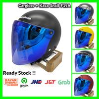 Paket Helm Cargloss Retro + Kaca Snail Blue (Retro/Bogo/Klasik/Vespa) - M, Black Doff