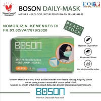 BOSON Masker Hijab Headloop 3 Ply Isi 40 Pcs - Disposable Daily Mask