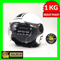 Helm Cargloss YR Protect Whity White Putih (Half Face/Retro/Classic)