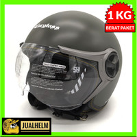 Helm Cargloss YR Hijau Army (Half Face/Helm Retro/Classic/Klasik)