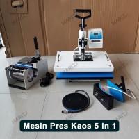Mesin Press Kaos 5 In 1 Digital All In One Alat Hotpress Sablon Baju