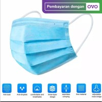 MASKER 3 PLY / SURGICAL MASK DISPOSABLE MASK ISI 50pc bersertifikat CE