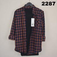 Kemeja Flanel Pria Lengan Panjang / Murah / Kantoran / Red - kode 2287, M