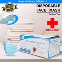 Masker medis anti virus 3ply earloop 50 pcs - Biru