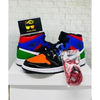 AIR JORDAN 1 MID MULTI PATENT (W) BLACK LEATHER BNIB 100% ORIGINAL !!!
