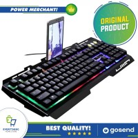 Gaming Keyboard Full LED with Smartphone Holder