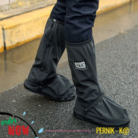 Cover Pelindung Sepatu dari Hujan Shoes Rain Cover dengan Reflektor - Hitam, L
