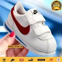 Sepatu Nike Cortez Anak-Putih Merah-Model Perekat-Import