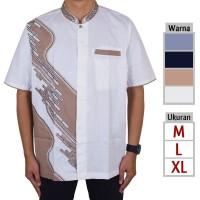Baju Koko Pria, Busana Muslim Lengan Pendek Bordir Me.09 - Putih tulang, M