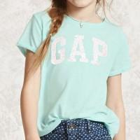 Kaos pendek anak perempuan branded original Gapkids flip sequin tosca