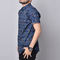 Kemeja Batik Pria Slimfit Lengan pendek Cotton Stretch M L XL 6481 - Biru, M