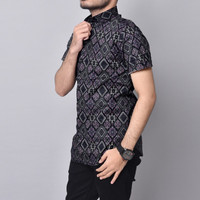 Kemeja Batik Pria Slimfit Lengan pendek Cotton Stretch M L XL 6481 - Purple, L