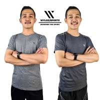 Baju Kaos Olahraga Gym Fitness Lari Running Sepeda Cowok Pria Wyloz - Abu-abu, M