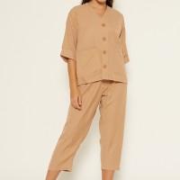 NOA Everyday Piyama YUMIKO Soft Linen SET with Pants Caramel