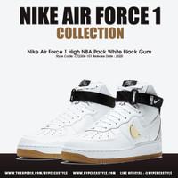 SEPATU NIKE AIR FORCE 1 HIGH NBA PACK WHITE BLACK GUM ORIGINAL - 43