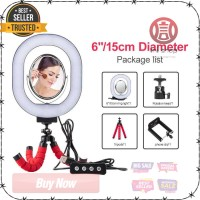 Lampu Halo Ring Light LED Selfie 6 Inch with Tripod KUALITAS TERBAIK