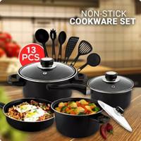 Cookware set 13 in 1 Peralatan Masak Dapur Panci Tutup Teflon kitchen