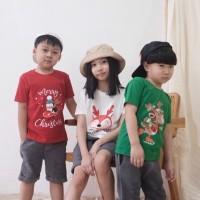 Kaos Natal Anak - Anak Usia 1-9 tahun| Christmas Tee| Baju Natal Anak - S 1Y, Merah
