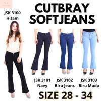 Celana Soft Jeans Panjang model Cutbray Long Pants Cutbray wanita - Hitam, 28