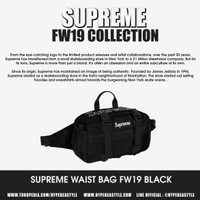 TAS SUPREME WAIST BAG FW19 BLACK ORIGINAL WAIST BAG SUPREME MURAH