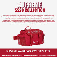 TAS WAISTBAG SUPREME SS20 RED WARNA MERAH ORIGINAL WAIST BAG MURAH