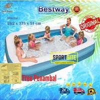Bestway Rectangular Pool Biru Putih 2.62m. Kolam Renang Karet Anak