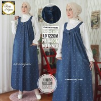 Jumbo button polka overall dress jeans motif