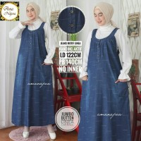 Jumbo button linea overall dress jeans motif
