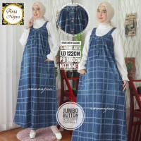 Jumbo button square overall dress jeans motif