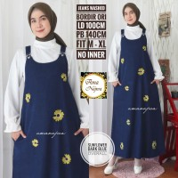 Sunflower overall dress jeans bordir ori motif bunga